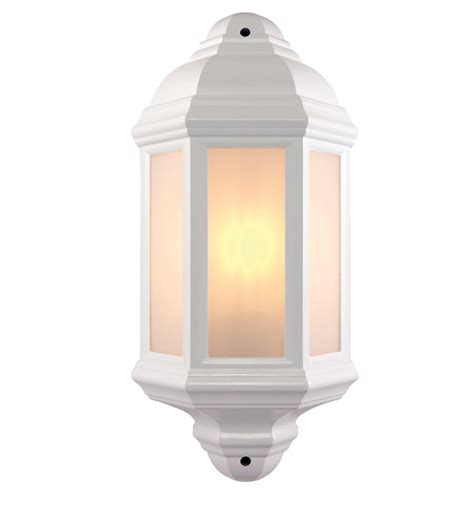 endon halbury ip44 half lantern outdoor wall light matt white textured frosted