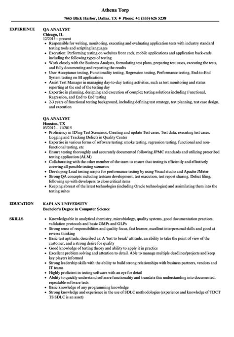 cool qa analyst resume objective pictures inspiration