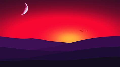 Wallpaper Sunset, Half Moon, Cgi, 4k, Creative Graphics