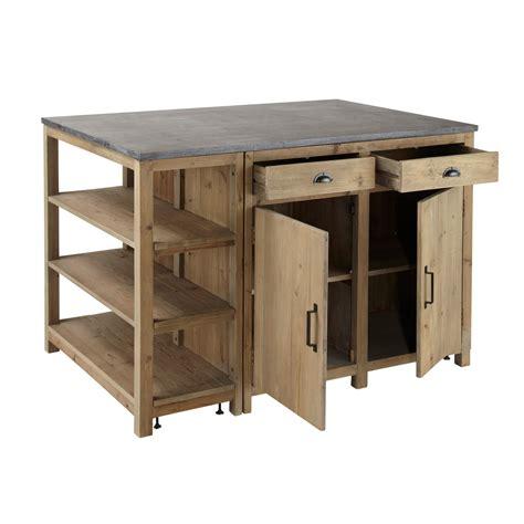 meuble cuisine independant bois 206 lot central en bois recycl 233 l 145 cm pagnol maisons du monde
