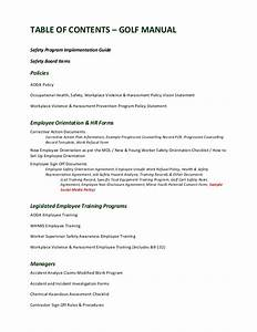 golf manual table of contents With aoda policy template