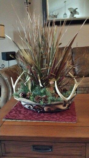 Deer antler centerpiece that I made for the coffee table