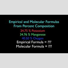 Empirical And Molecular Formula From Percent Composition (no 2) Youtube