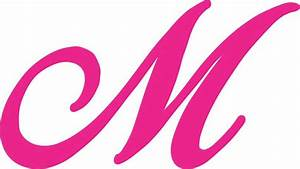 In X Pink Cursive M Monogram Sticker Fancy Vinyl Vehicl On ...
