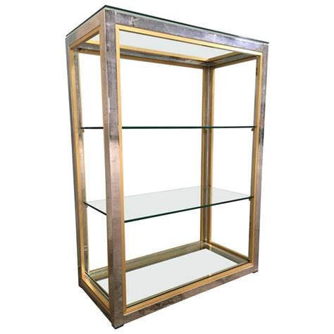 Brass And Glass Etagere by Etagere In Brass And Chrome Metal With Glass Shelves By
