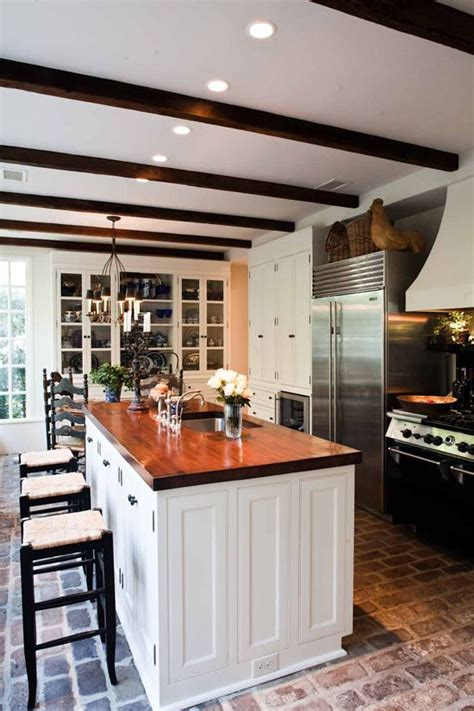 20 beautiful brick and kitchen brick floors are what i notice warm wood countertop
