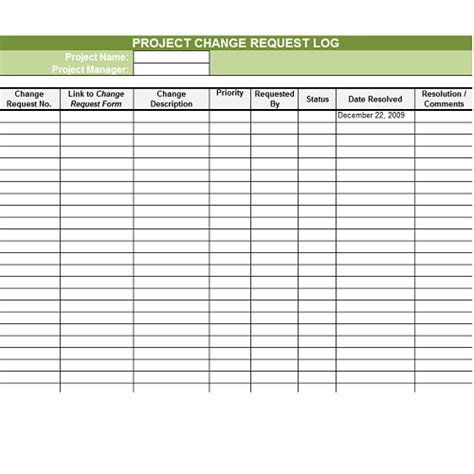 change log template change request log excel template templates data