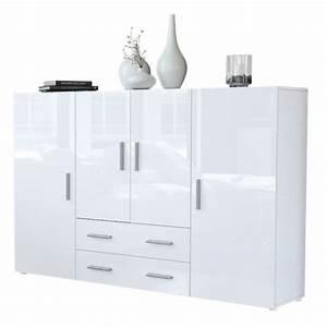 Sideboard Hängend Weiß Hochglanz : highboard sideboard nora in wei wei hochglanz ~ Watch28wear.com Haus und Dekorationen