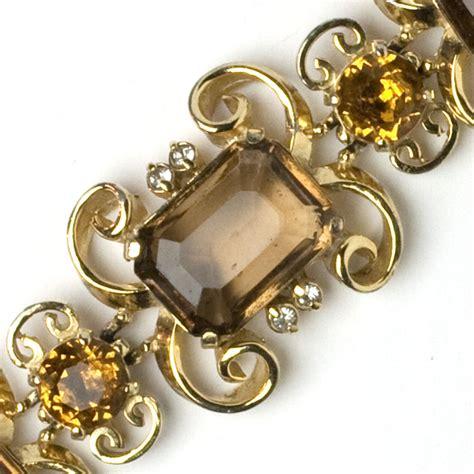 Schiaparelli Vintage Jewelry - Topaz, Diamanté & Gold Bracelet