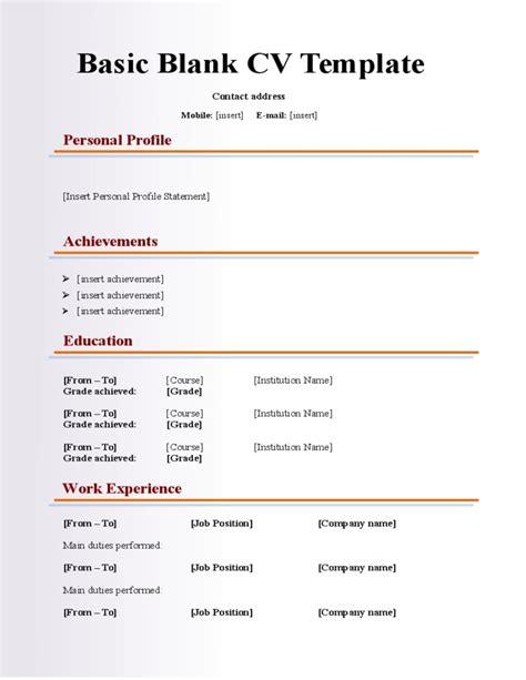 Basic Resume Template Word by Blank Basic Resume Template Resume Corner