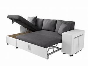 canape d39angle convertible en lit avec poufs oslo gris blanc With canapé d angle convertible pouf et coffre mega