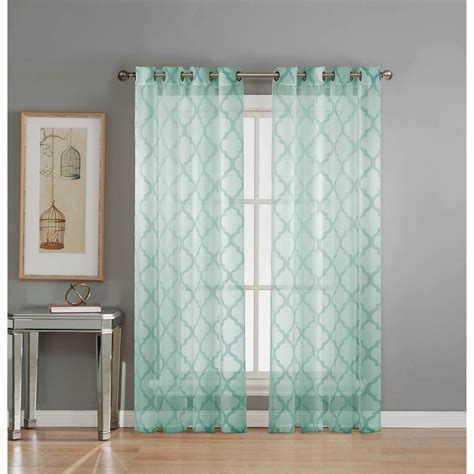 Aqua Drapery Panels by Window Elements Sheer Lattice Cotton Blend Burnout Sheer