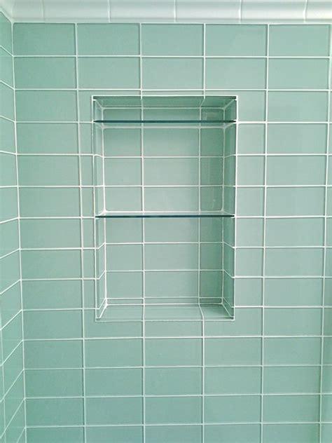 glass subway tile niche bathroom plans