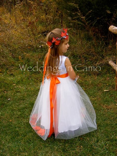 fall flower girl dress  leaves  tulle skirt