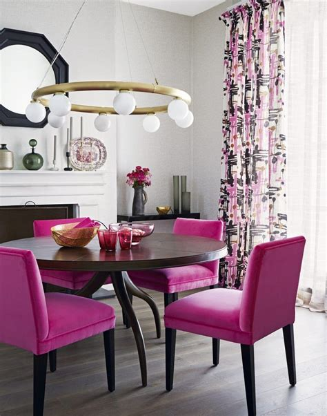neutral dining room  bright pink chairs dining room colour schemes pink dining rooms