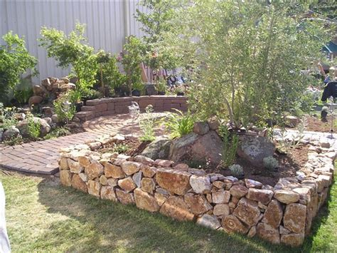 olive garden rock rock wall surrounding an olive tree landscaping