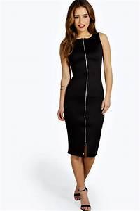 boohoo petite becca robe midi zippee devant pour femme ebay With robe zippée devant
