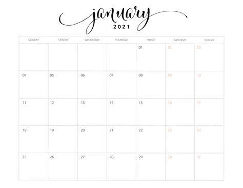 14+ 2021 January Calendar  PNG