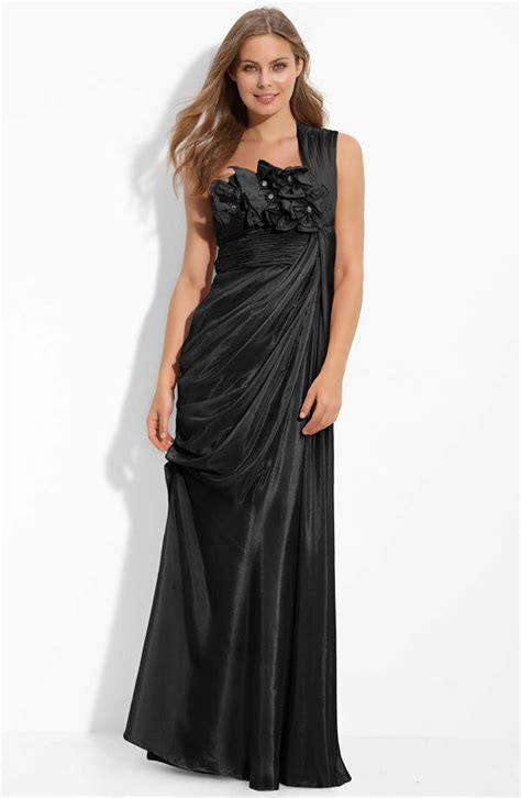 papell draped gown 198 papell black draped floral applique ruched
