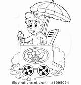 Ice Cream Clipart Icecream Selling Illustration Drawing Pages Colouring Coloring Royalty Cart Visekart Kleurplaten Rf Coloringpage Getdrawings sketch template