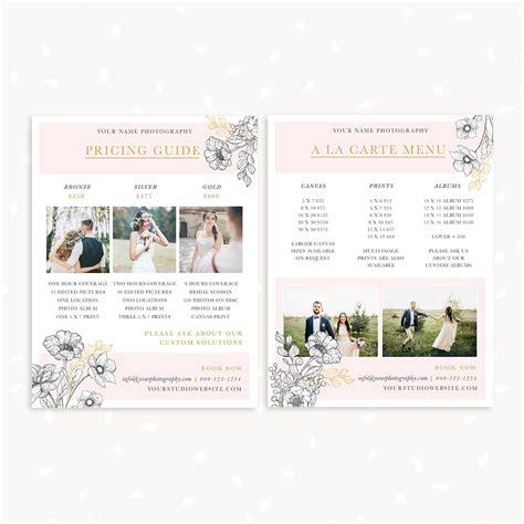 floral wedding price list template strawberry kit