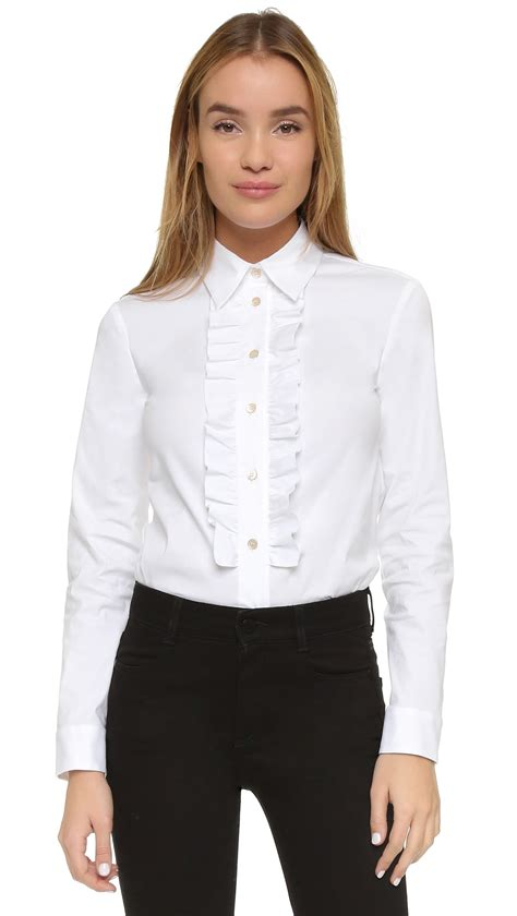 ruffled blouses valentino ruffle blouse in white lyst