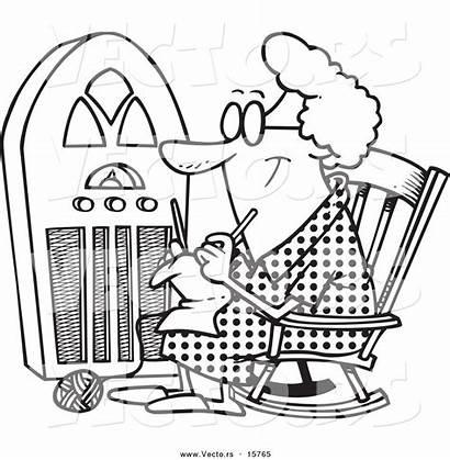 Radio Coloring Drawing Cartoon Knitting Granny Toonaday