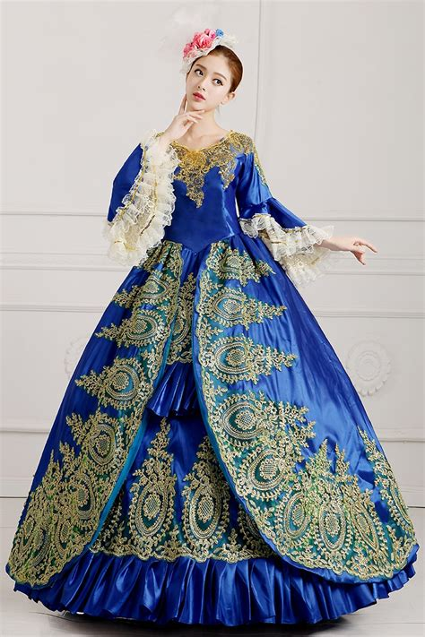 real royal blue golden embroidery gown medieval dress
