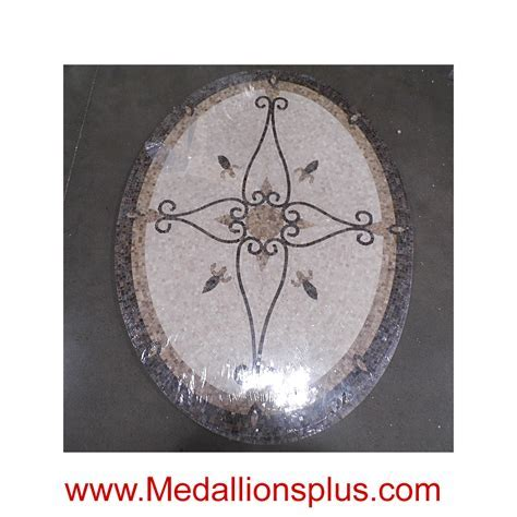 "Elegante, 36"" x 48"" Oval Mosaic Floor Medallion, polished"