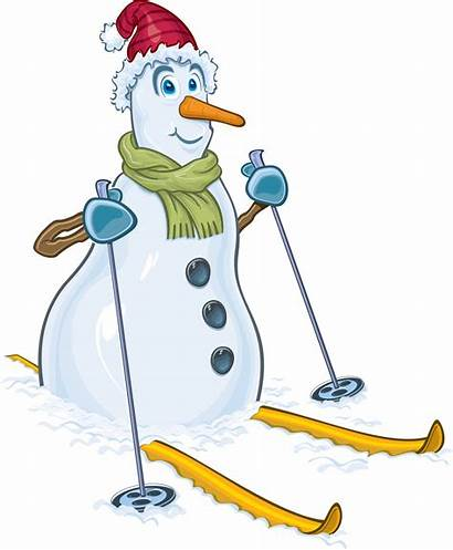 Snowman Clipart Winter Christmas Skiing Snow Hat