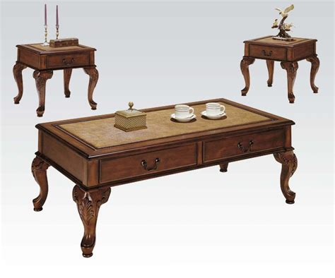 3 coffee table and end tables set f3076 on a acme furniture trudeau 3 coffee end table set in