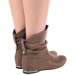 womens size 12 slouch boots womens flat slouch low heel wedge ankle boots shoes pixie casual size ebay