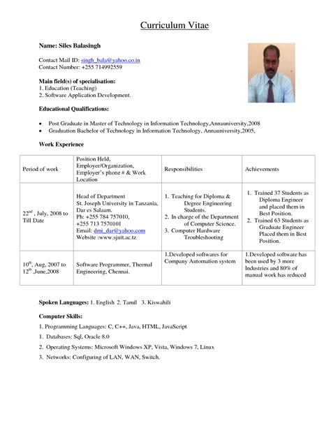 resume for lecturer post in computer science doc 566792 college instructor resume sle template bizdoska