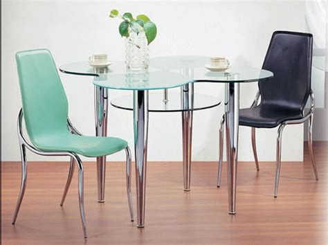 Exquisite Clear Glass Top Leather Table And Four Chairs