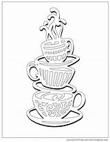 Coloring Coffee Cup Pages Tea Stack Cups Colouring Sheets Overflows Teacups Printable Getcolorings Lobby Hobby sketch template