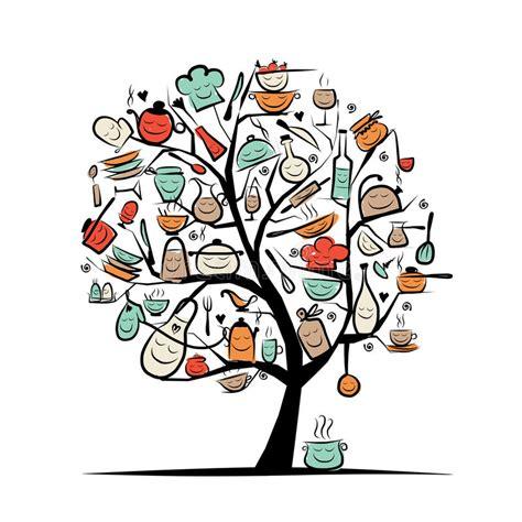 dessin d ustensiles de cuisine arbre d 39 avec des ustensiles de cuisine dessin de croquis pour illustration de vecteur