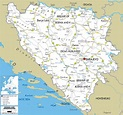 Detailed Clear Large Road Map of Bosnia and Herzegovina ...
