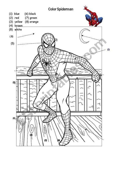 colors spiderman esl worksheet  im lety