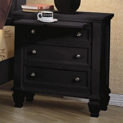 Coaster Sandy Beach 3 Drawer Night Stand in Black   201322