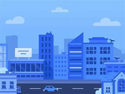 Skyline Animation Header Background Dribbble Vector Street
