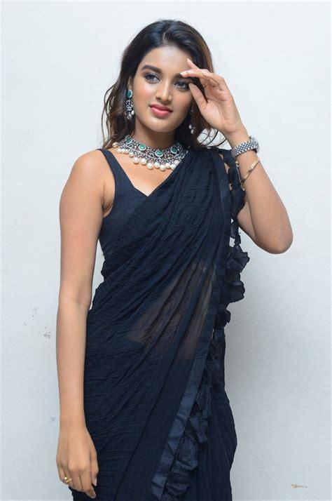 Actress Nidhi Agarwal Hot Black Saree Images Ismart