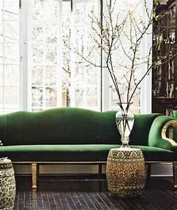 Green velvet sofas design manifestdesign manifest for Couch and sofa table in front of window