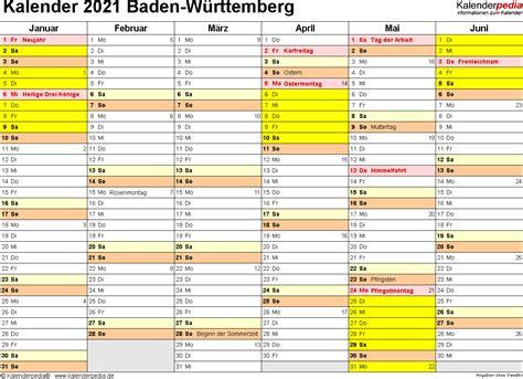 Klassische, generische kalendervorlagen für zu hause oder das büro, zur verwendung als urlaubskalender, urlaubsplaner, reiseplaner. Kalender 2021 Baden-Württemberg: Ferien, Feiertage, PDF ...