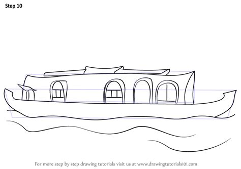 How To Draw A Boat Car by Learn How To Draw A Boat House Boats And Ships Step By