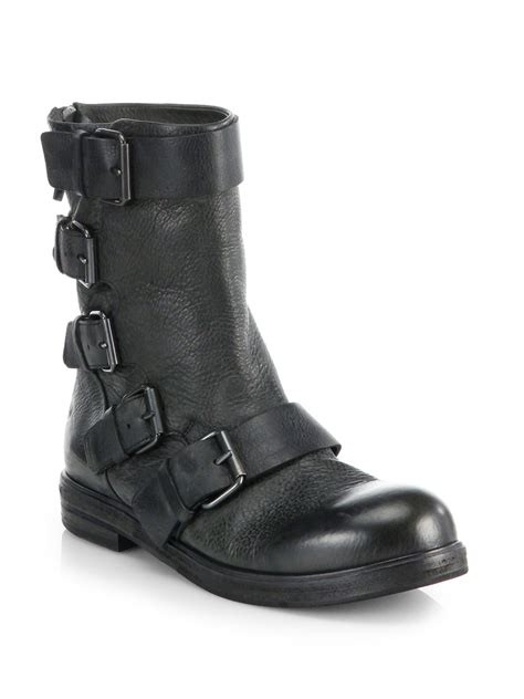 moto style boots lyst marsèll buckled leather mid calf moto boots in black