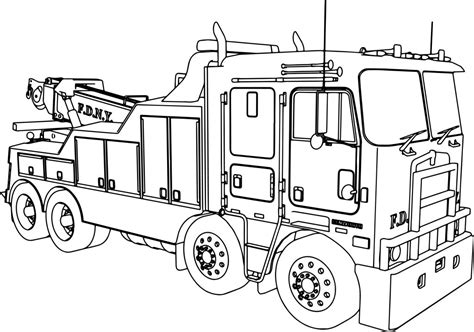 kenworth wrecker fire truck coloring page wecoloringpagecom