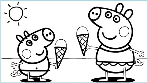peppa pig ice cream coloring pages  kids peppa