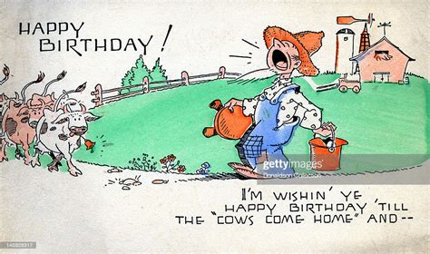 colorful vintage cartoon greeting card depicts  farmer
