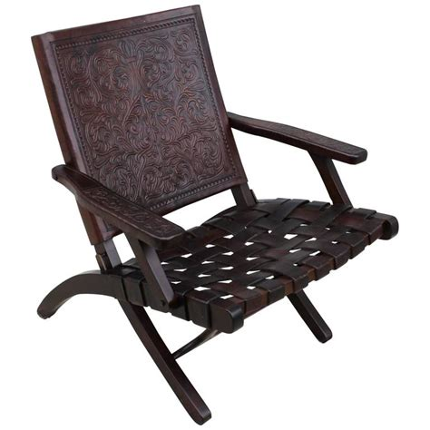 1940s leather folding lounge chair for sale at 1stdibs