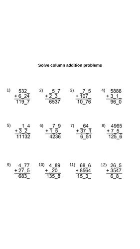 year 5 column addition worksheets differentiated and